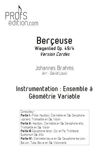Berceuse (Wiegenlied) - Ensemble à Géométrie Variable - BRAHMS J. - front page