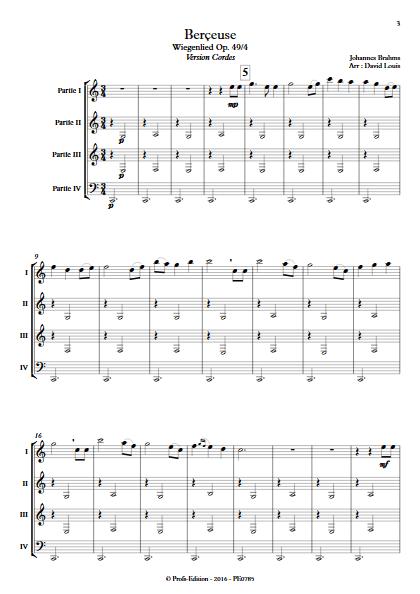 Berceuse (Wiegenlied) - Ensemble à Géométrie Variable - BRAHMS J. - Educationnal sheet