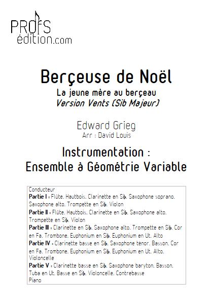 Berceuse de Noël -Ensemble à Géométrie Variable - GRIEG E. - Educationnal sheet