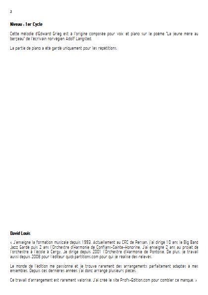 Berçeuse de Noël - Flûte et Quatuor à Cordes (ou Piano) - GRIEG E. - Educationnal sheet