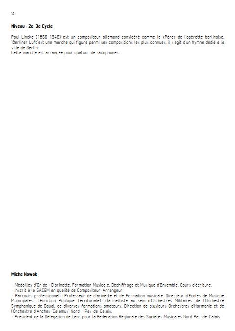Berliner Luft - Quatuor de Saxophones - LINCKE P. - Educationnal sheet