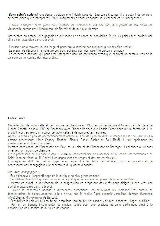 Beym rebin's sude - Quatuor Violoncelles - FORRÉ C. - Educationnal sheet