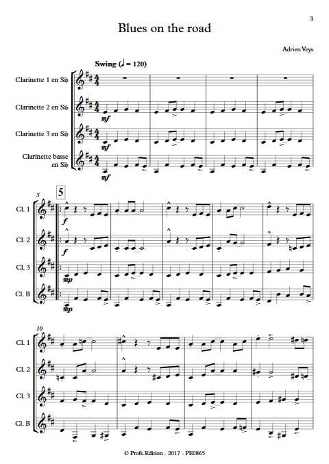 Blues on the road - Quatuor de Clarinettes - VEYS A. - app.scorescoreTitle