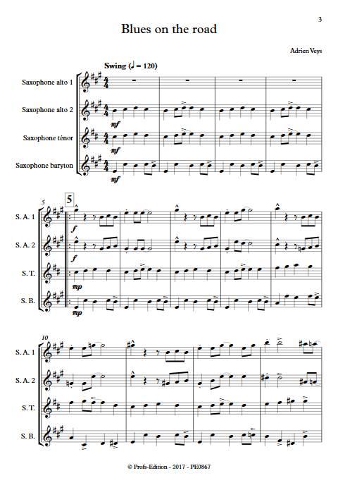Blues on the road - Quatuor de Saxophones - VEYS A. - app.scorescoreTitle
