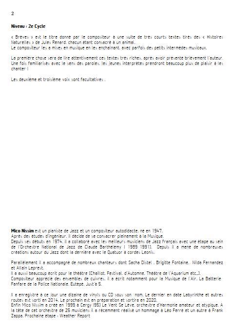 Brèves - Chœur et Piano - NISSIM M. - Educationnal sheet