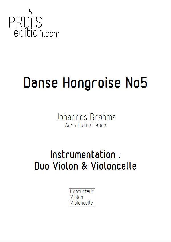 Danse hongroise n°5 - Duo Violon Violoncelle - BRAHMS J. - front page