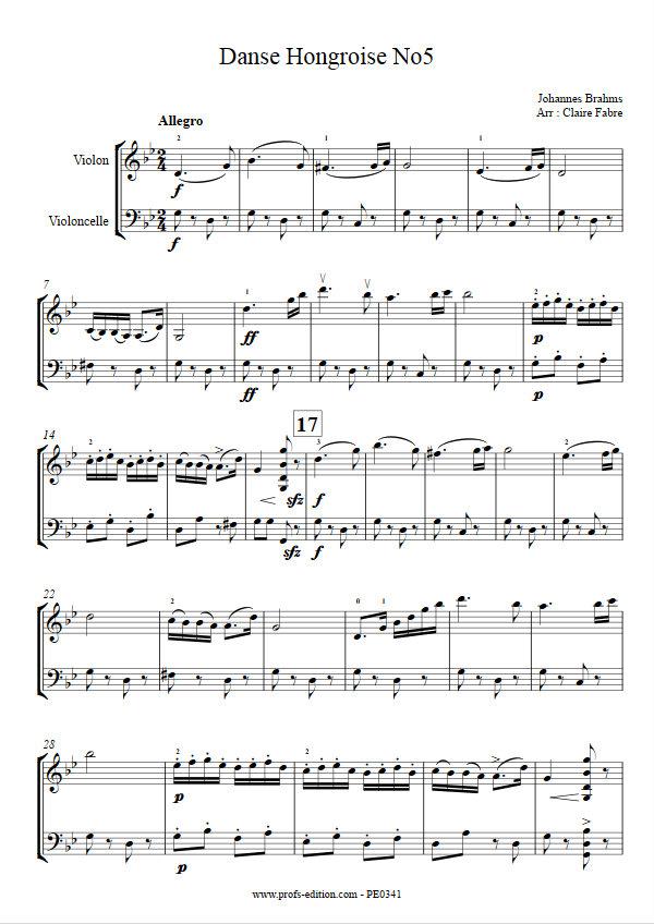 Danse hongroise n°5 - Duo Violon Violoncelle - BRAHMS J. - Educationnal sheet