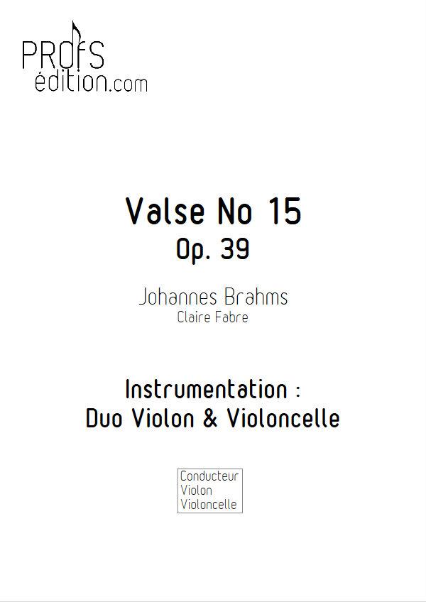 Valse n°15 Opus 39 - Duo Violon Violoncelle - BRAHMS J. - front page