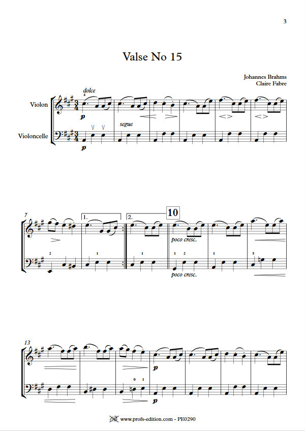 Valse n°15 Opus 39 - Duo Violon Violoncelle - BRAHMS J. - app.scorescoreTitle