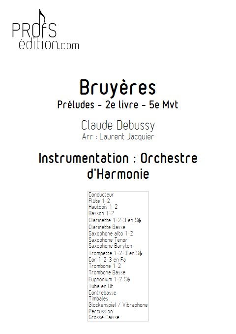 Bruyères -Orchestre d'Harmonie - DEBUSSY C. - front page