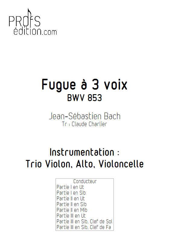 Fugue du Clavier bien tempéré BWV 853 - Trio - BACH J. S. - front page
