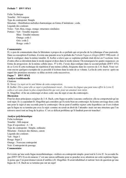 Clavier Bien Tempéré 2 BWV 876 - Analyse - CHARLIER C. - Educationnal sheet
