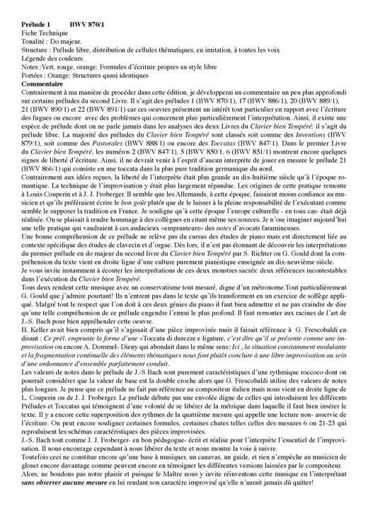 Clavier Bien Tempéré 2 BWV 870 - Analyse - CHARLIER C. - Educationnal sheet