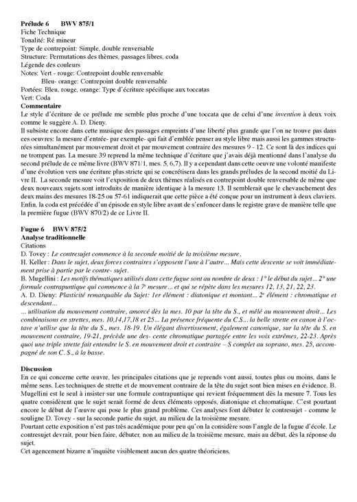 Clavier Bien Tempéré 2 BWV 875 - Analyse - CHARLIER C. - Educationnal sheet
