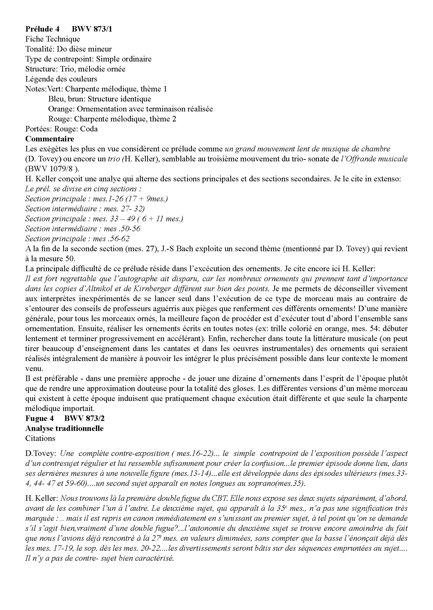 Clavier Bien Tempéré 2 BWV 873 - Analyse - CHARLIER C. - Educationnal sheet