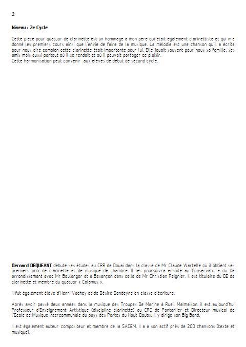 C'est ma clarinette - Quatuor de Clarinettes - DEQUEANT B. - Educationnal sheet