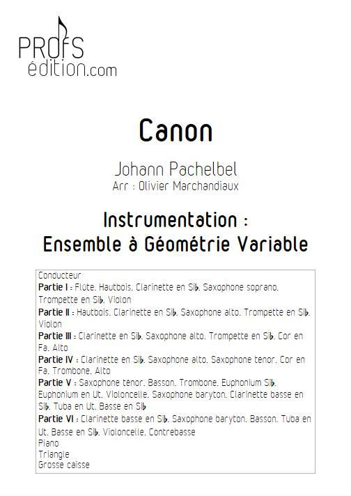 Canon - Ensemble Variable - PACHELBEL J. - front page