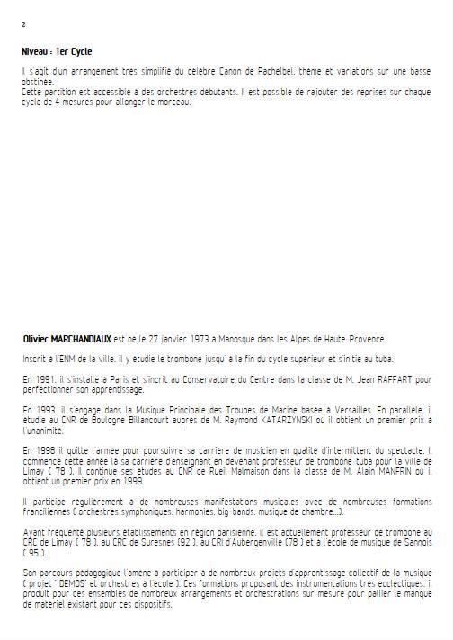 Canon - Ensemble Variable - PACHELBEL J. - Educationnal sheet
