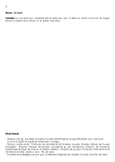 Cantabile- Saxophone Piano - NOWAK M. - Educationnal sheet