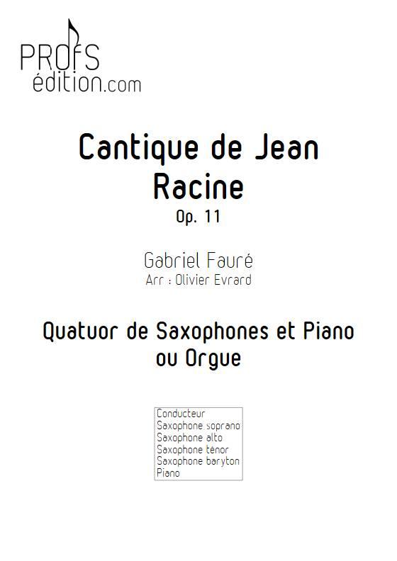 Cantique de Jean Racine - Quatuor de saxophones et clavier - FAURE G. - front page