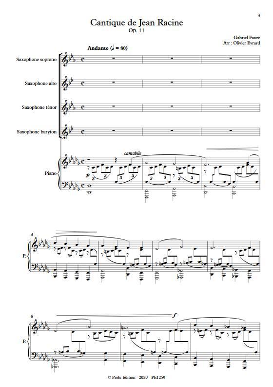 Cantique de Jean Racine - Quatuor de saxophones et clavier - FAURE G. - app.scorescoreTitle