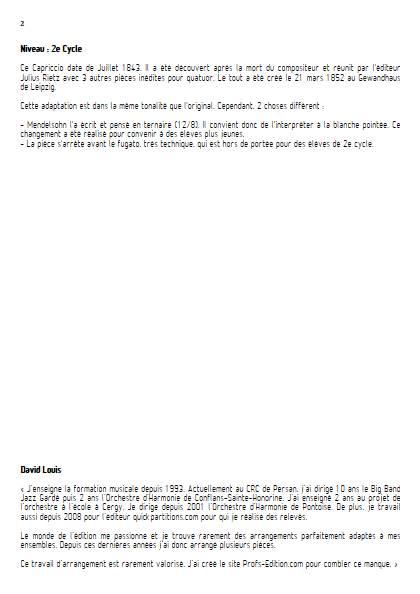 Capriccio - Quatuor de Clarinettes - MENDELSSOHN F. - Educationnal sheet