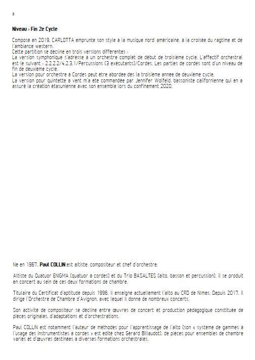 Carlotta - Quintette à vents - COLLIN P. - Educationnal sheet