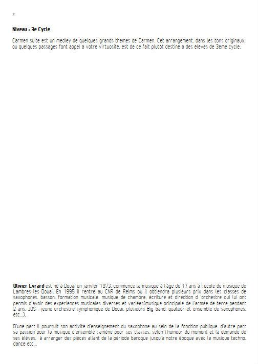 Carmen Suite - Quatuor de Saxophones - BIZET G. - Educationnal sheet