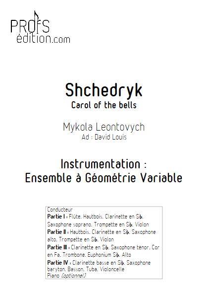 Carol of the bells - Ensemble à Géométrie Variable - LEONTOVYCH M. - front page
