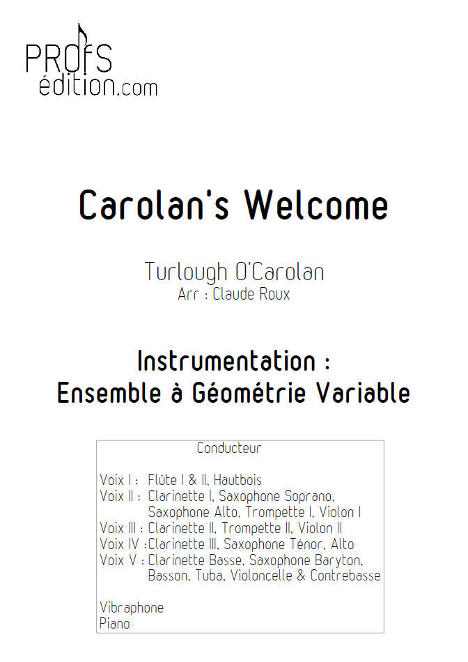 Carolan's Welcome - Ensemble à Géométrie Variable - O'CAROLAN T. - front page