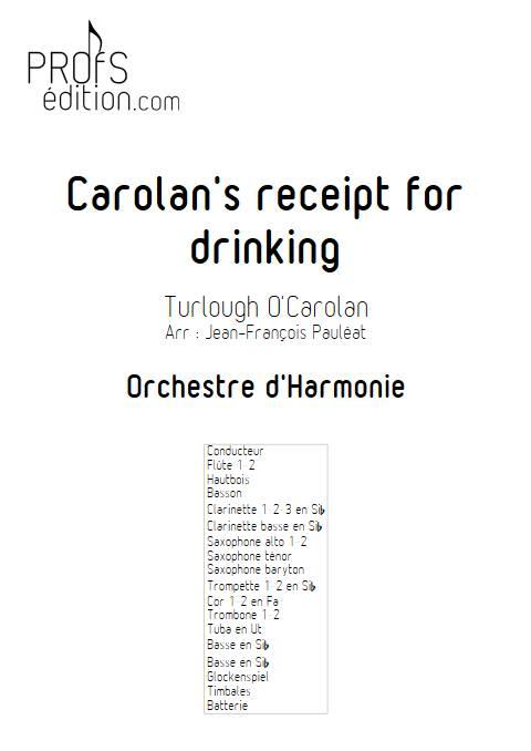 Carolan's receipt for drinking - Orchestre d'Harmonie - O'CAROLAN T. - front page