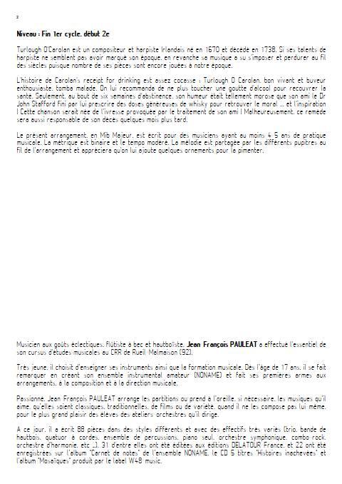 Carolan's receipt for drinking - Orchestre d'Harmonie - O'CAROLAN T. - Educationnal sheet