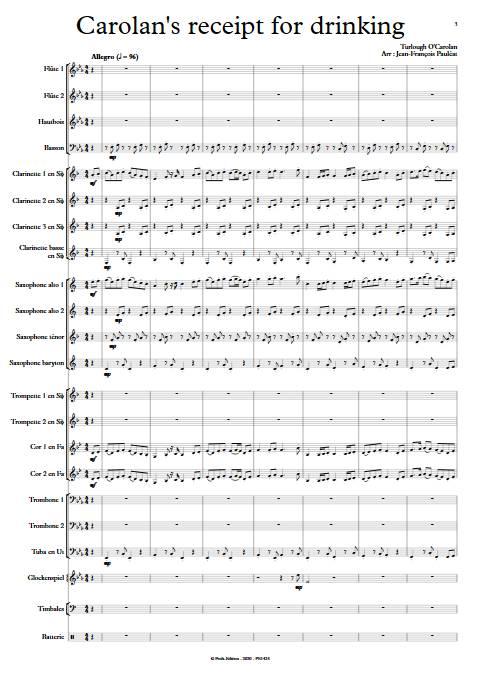 Carolan's receipt for drinking - Orchestre d'Harmonie - O'CAROLAN T. - app.scorescoreTitle