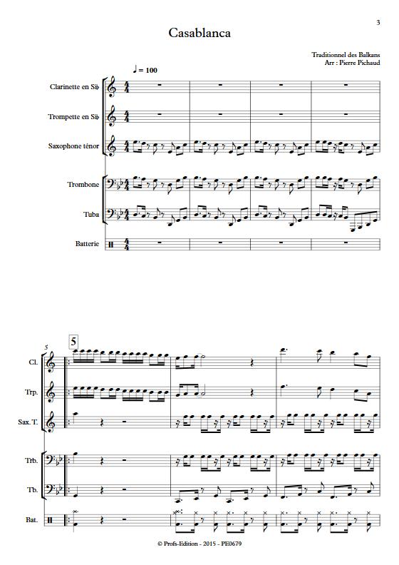 Casablanca - Fanfare - TRADITIONNEL BALKANS - app.scorescoreTitle