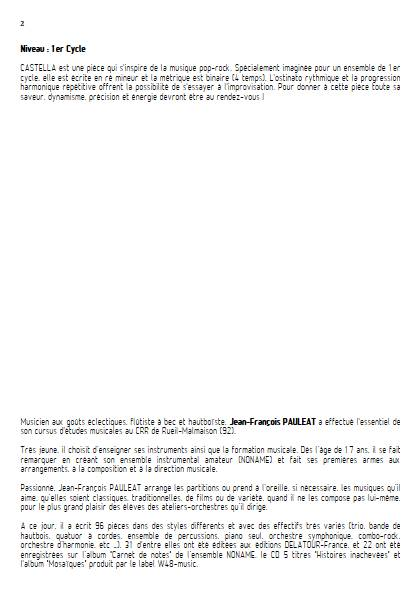 Castella - Ensemble Variable - PAULEAT J. F. - Educationnal sheet