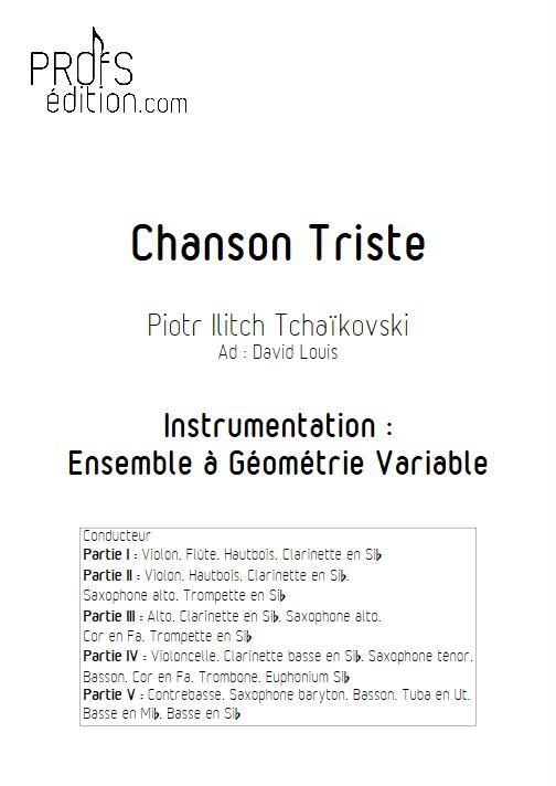 Chanson Triste - Ensemble à Géométrie Variable - TCHAIKOVSKY P. I. - front page