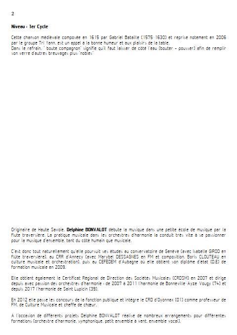 Chanson à boire - Chœur mixte - BATAILLE G. - Educationnal sheet
