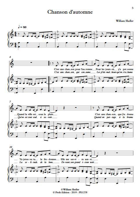 Chanson d'automne - Piano Voix - SHELLER W. - app.scorescoreTitle