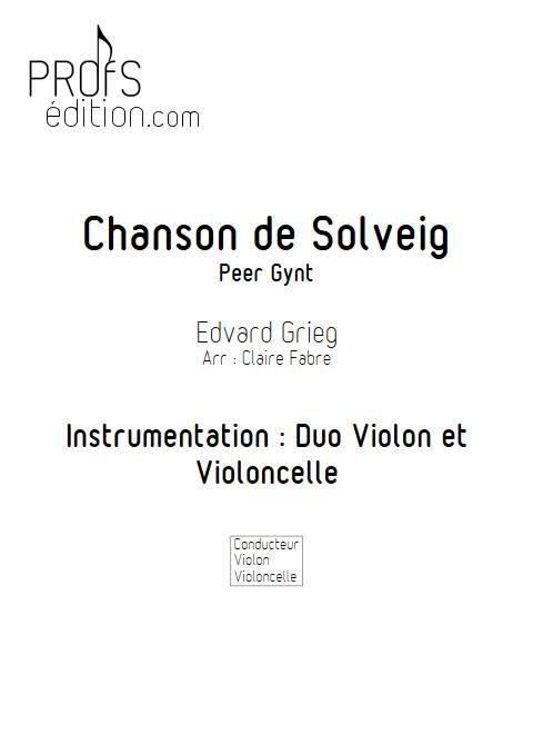 Chanson de solveig - Duo violon Violoncelle - GRIEG E. - front page
