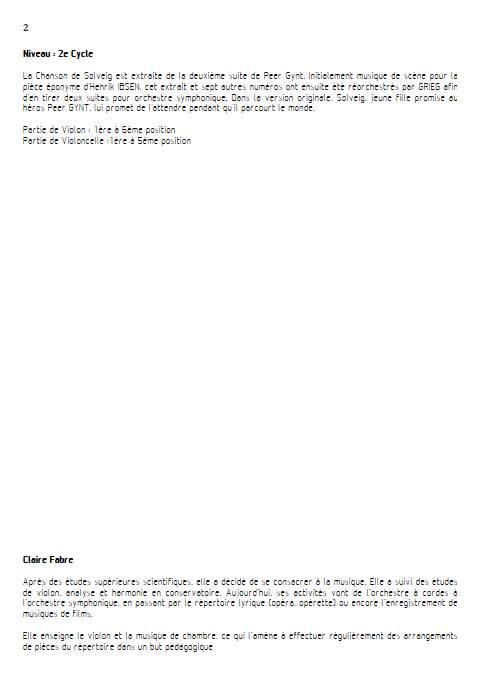 Chanson de solveig - Duo violon Violoncelle - GRIEG E. - Educationnal sheet