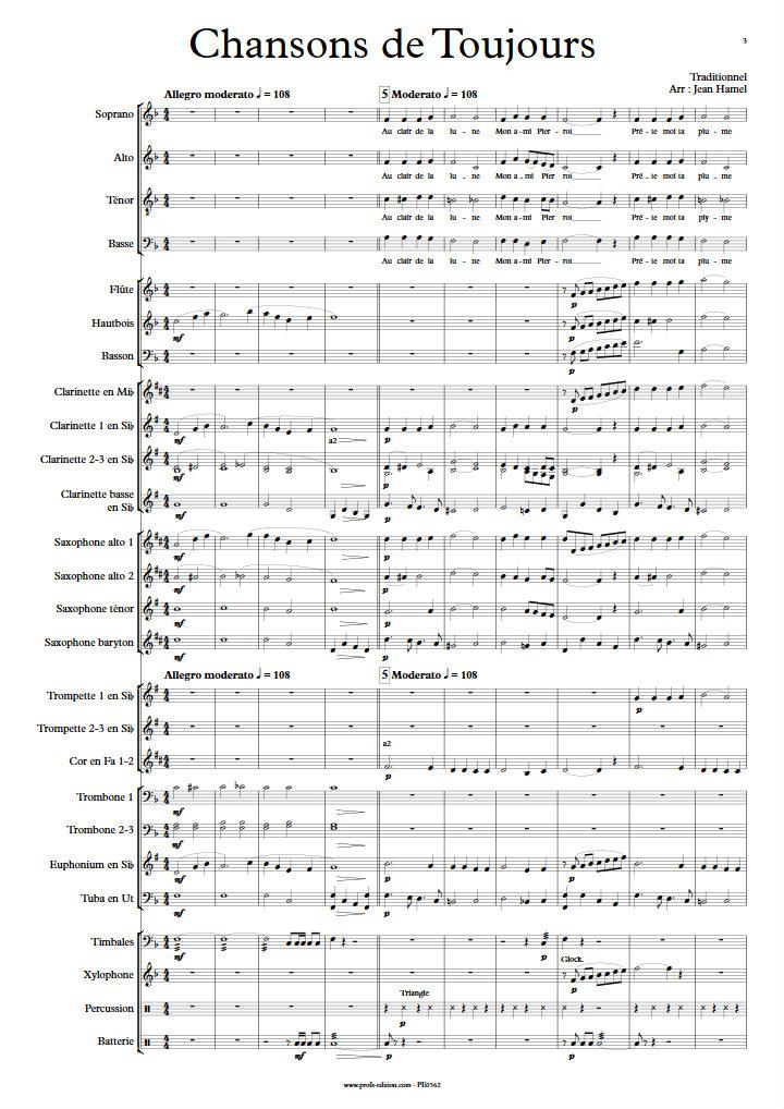 Chansons de Toujours - Orchestre d'Harmonie et Chœur - TRADITIONNEL - app.scorescoreTitle