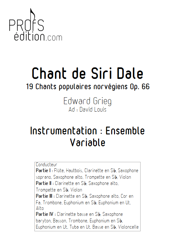 Chant de Siri Dale - Ensemble à Géométrie Variable - GRIEG E. - front page