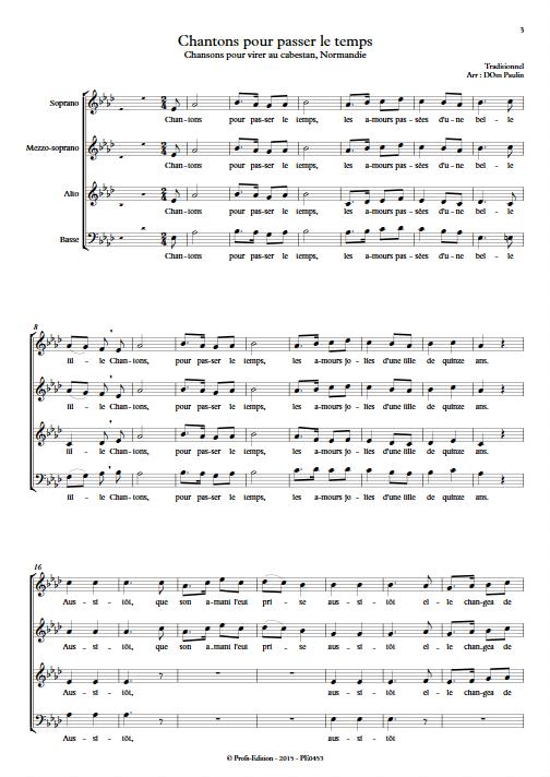 Chantons pour passer le temps - 4 voix mixtes - TRADITIONNEL - app.scorescoreTitle