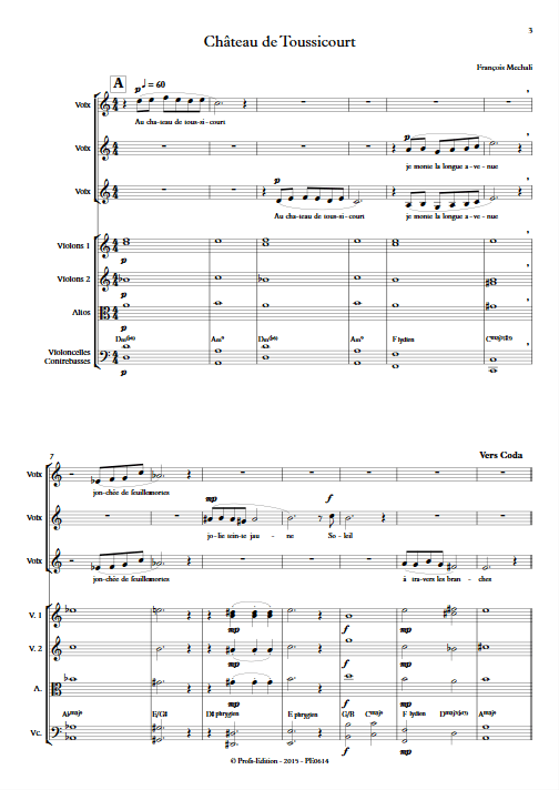Chateau de Toussicourt - Chœur & Orchestre à Cordes - MECHALI F. - app.scorescoreTitle