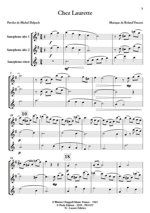 Chez Laurette - Trio Saxophones - ROLAND V. - app.scorescoreTitle
