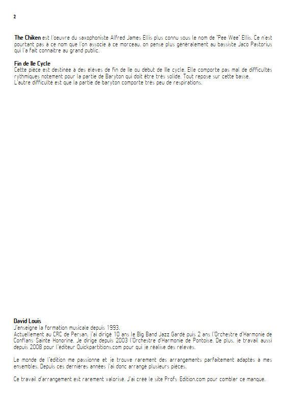 The Chicken - Quatuor Saxophones - ELLIS P. W. - Educationnal sheet