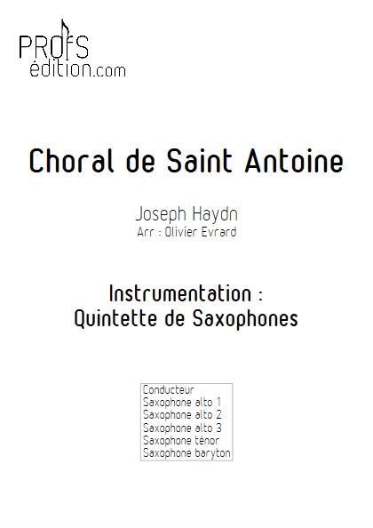 Choral de Saint Antoine - Quintette de Saxophones - HAYDN J. - front page