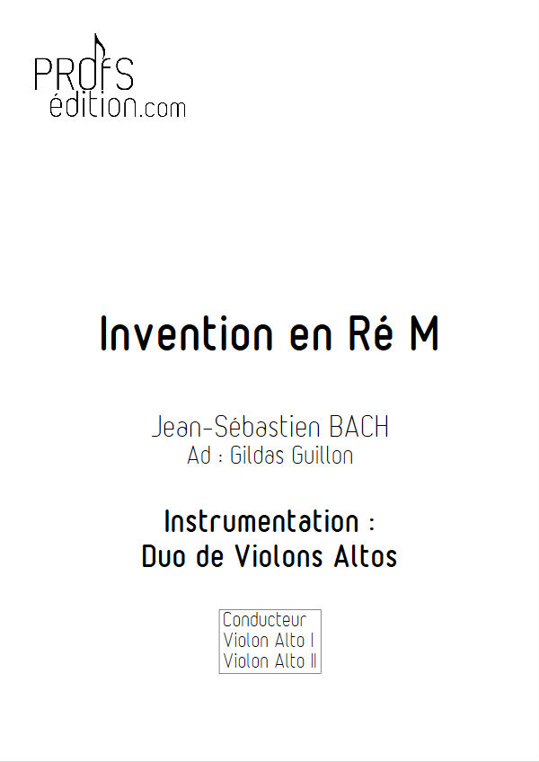 5 Inventions - Duo Altos - BACH J. S. - front page