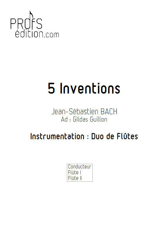5 Inventions - Duo Flûtes - BACH J. S. - front page
