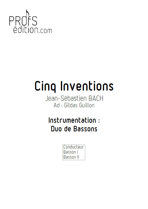 5 Inventions - Duo Bassons - BACH J. S. - front page